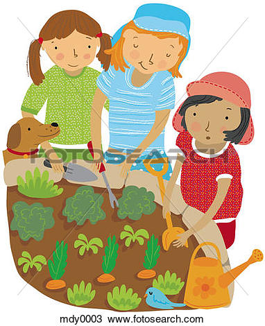 Stock Illustration of Children growing vegetables in a garden.