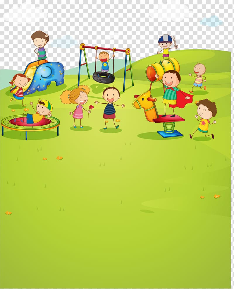 Children playing on playground illustration, Park Child.