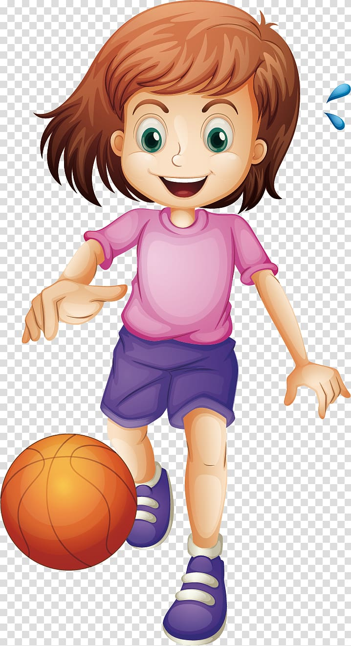 Basketball Cartoon Girl , Children play basketball.