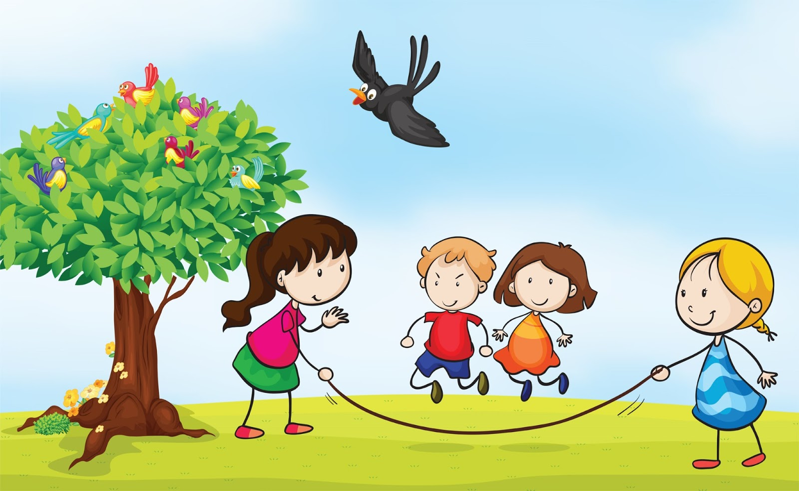 Kids outside play clipart.