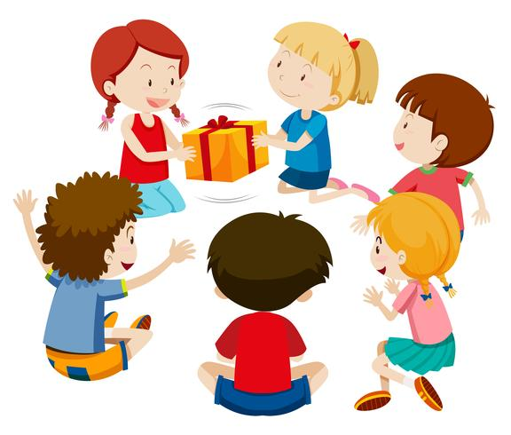 Children play present game.