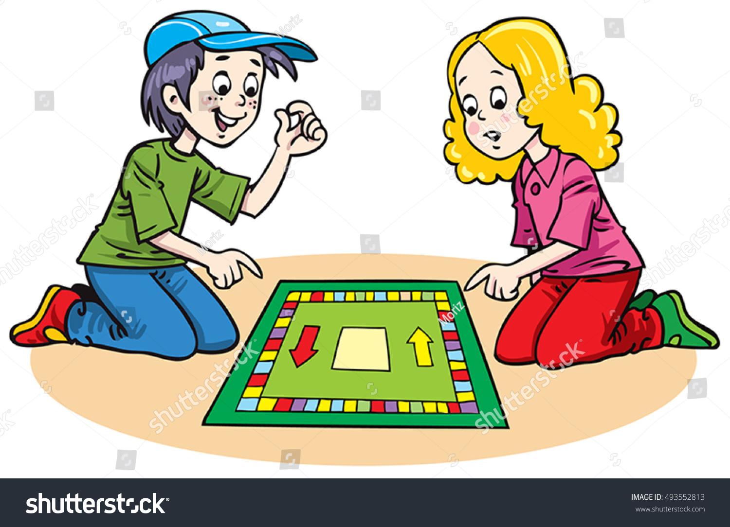 Playing Board Games Clipart.