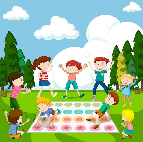 Children playing game in the park.