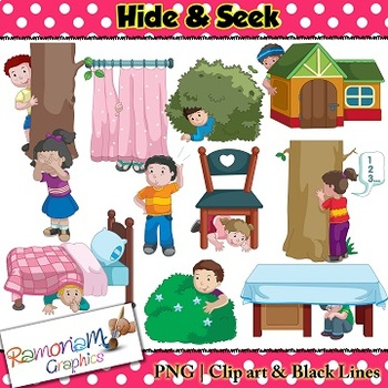 Kids Hide & Seek Clip art.
