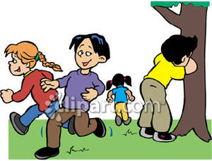 Children Playing Hide And Seek Clipart.