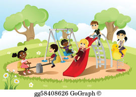 Children Playing On A Playground Clip Art.