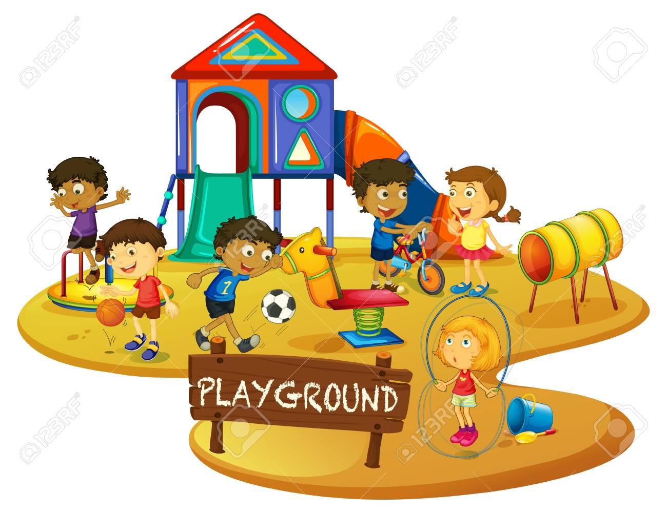 Happy children play in playground illustration.