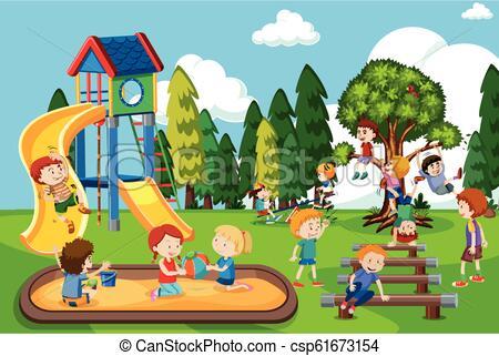 Children playing at playground.