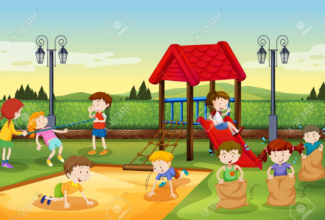 Children playing in the playground illustration.