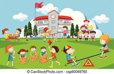 Kids playing at school playground.