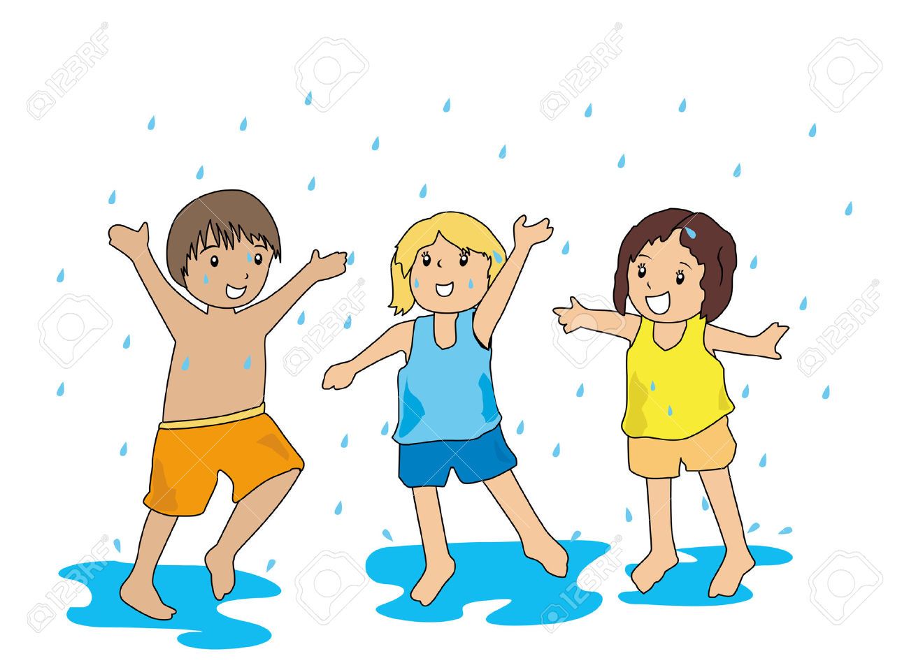 Playing Under The Rain Clipart.