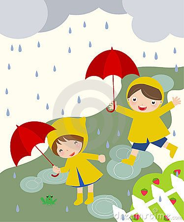 kids playing in rain clipart.