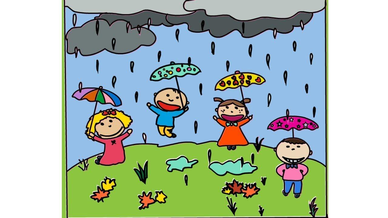 Drawing Children Playing In Rain.
