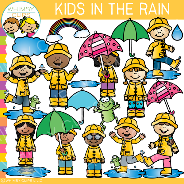 Kids Playing in the Rain Clip Art.