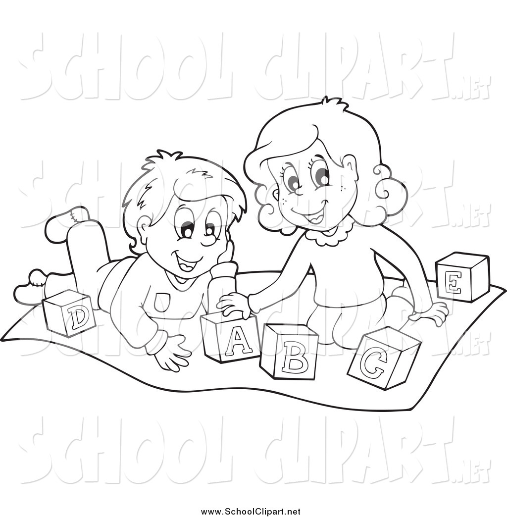 Clip Art of Black and White Happy Kids Playing with Letter Blocks.
