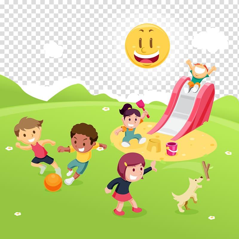 Children playing on playground illustration, Child Park Game.