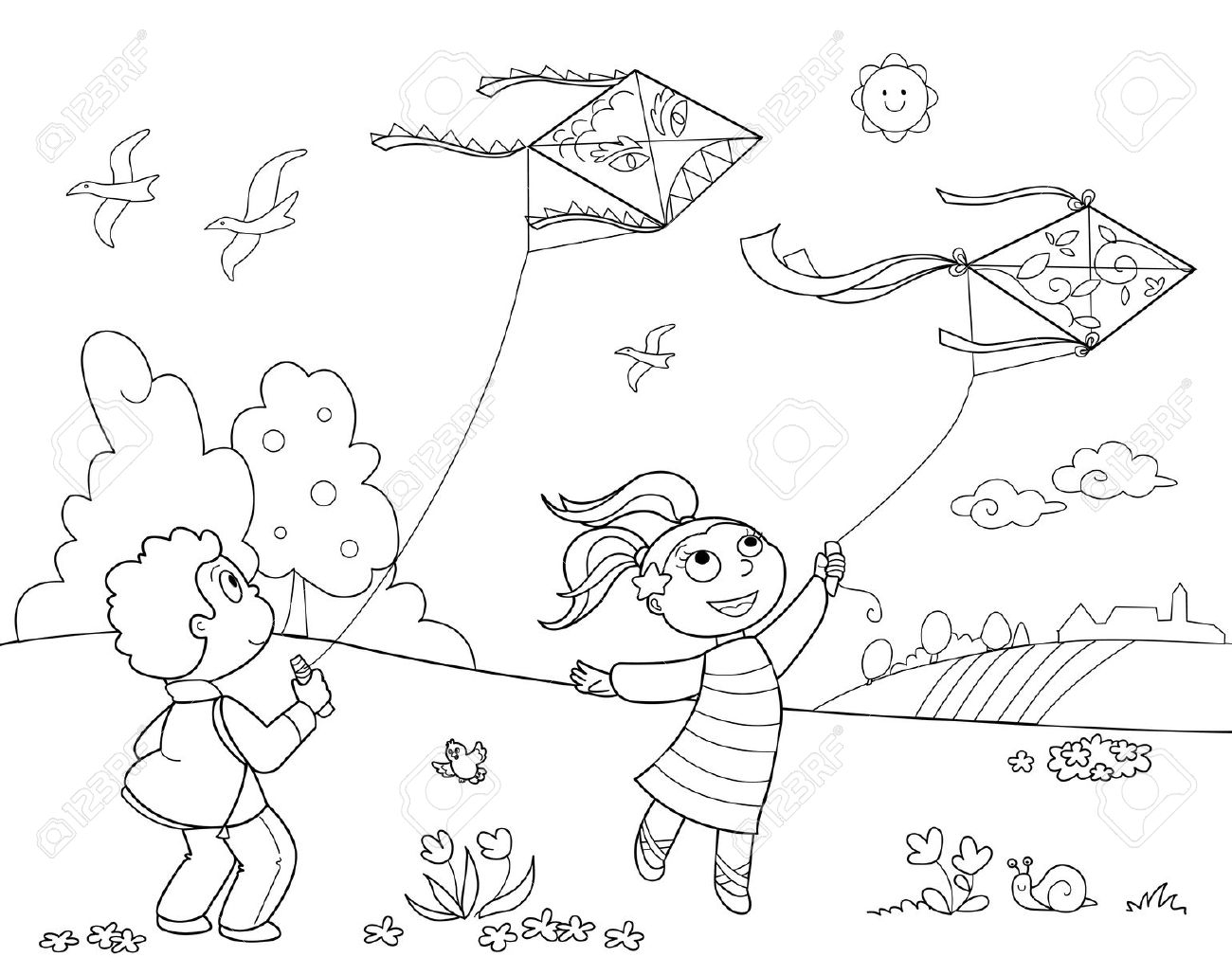 Children playing in the park clipart black and white 14.