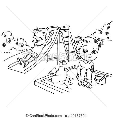 Kids At The Playground Cartoon Coloring Page Vector.