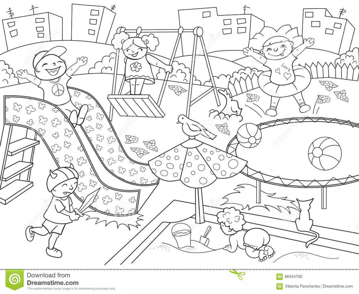 Children playing in the park clipart black and white 8.