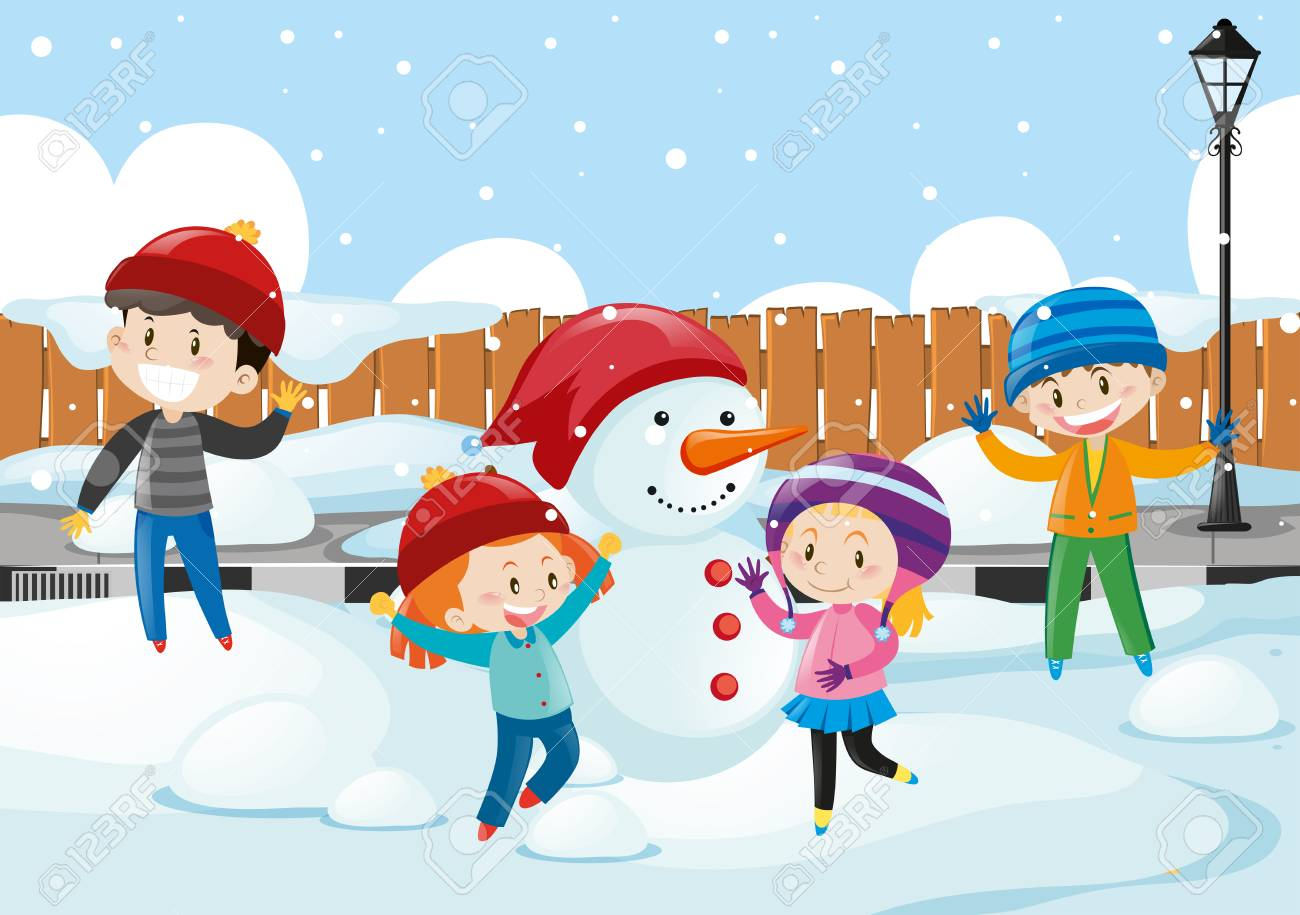 Happy children playing in the snow illustration.