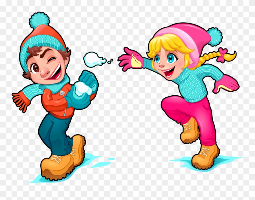 Cartoon Snow Play Illustration.