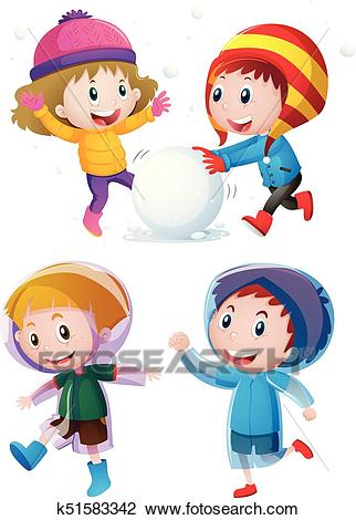 Children playing with snow in winter Clipart.