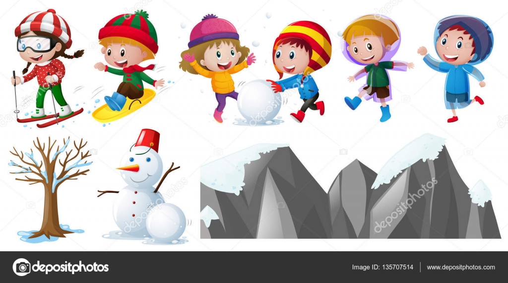 Clipart: kids playing in snow.