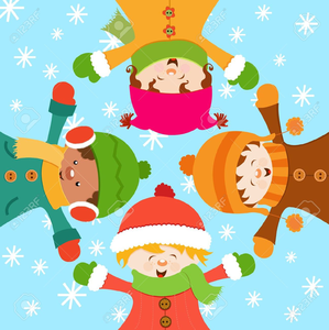 Children Playing In The Snow Clipart.