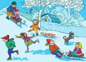 Children Playing With Christmas Winter stock vectors.