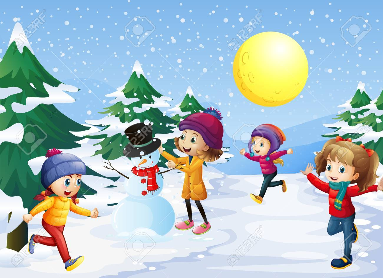 Kids playing in the snow on christmas illustration.