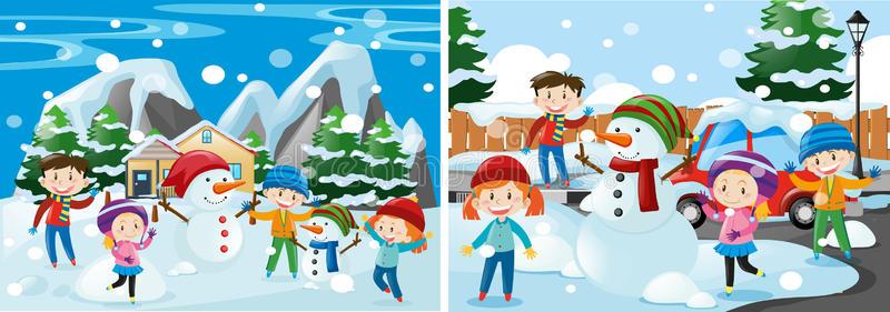 Children Playing Snow Stock Illustrations.