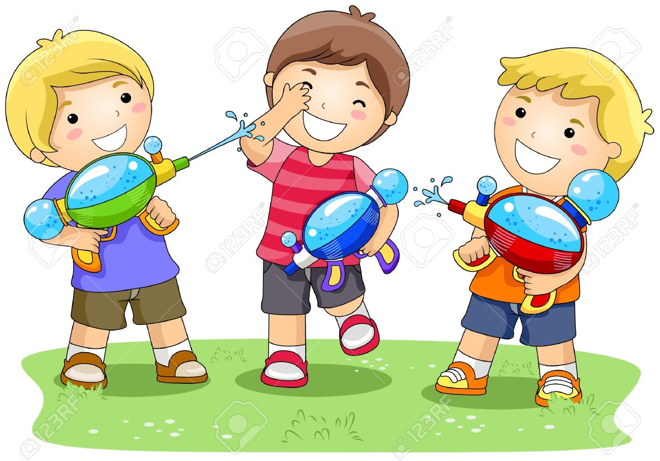 Children Playing With Water Gun In The Park Stock Photo, Picture.