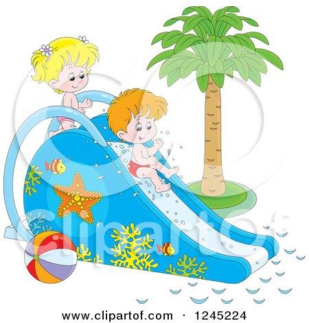 Cartoon of Happy Children Going down a Water Park Slide.