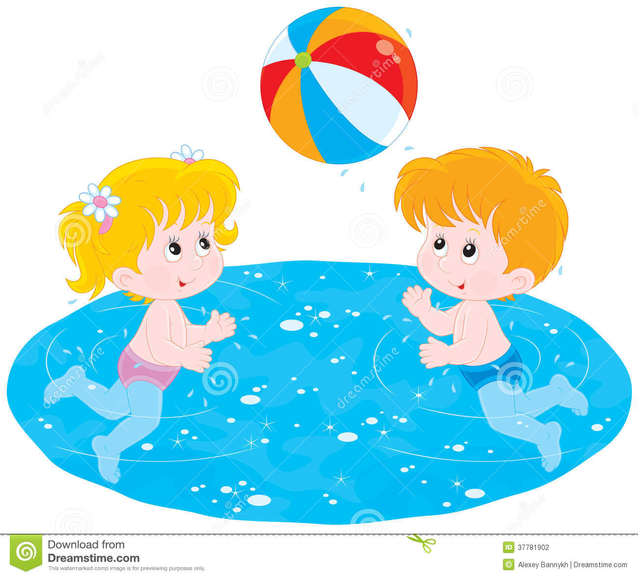 Children Play A Ball In Water Stock Photography.