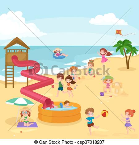 Vector Clipart of Children summer vacation. Kids Playing sand.