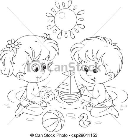 Clipart Vector of Children playing in water.
