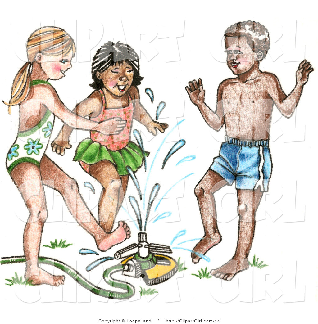 Clip Art of a Mixed Race Trio of Children Playing in a Sprinkler.