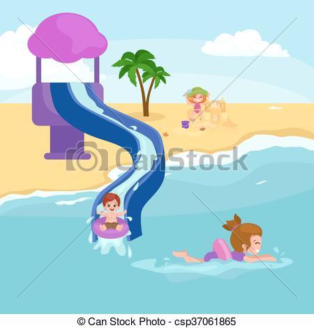 Clip Art Vector of Children summer vacation. Kids Playing sand.