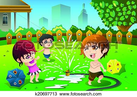 Clipart of Children playing with sprinkler water in the summer.
