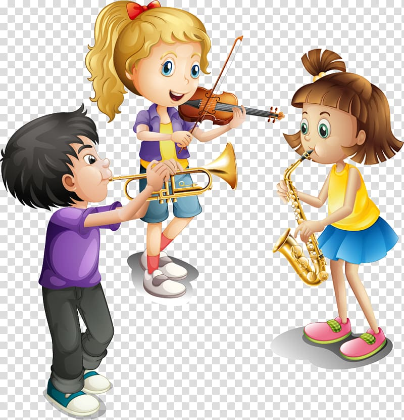 Children playing instruments illustration, Musical instrument Violin.