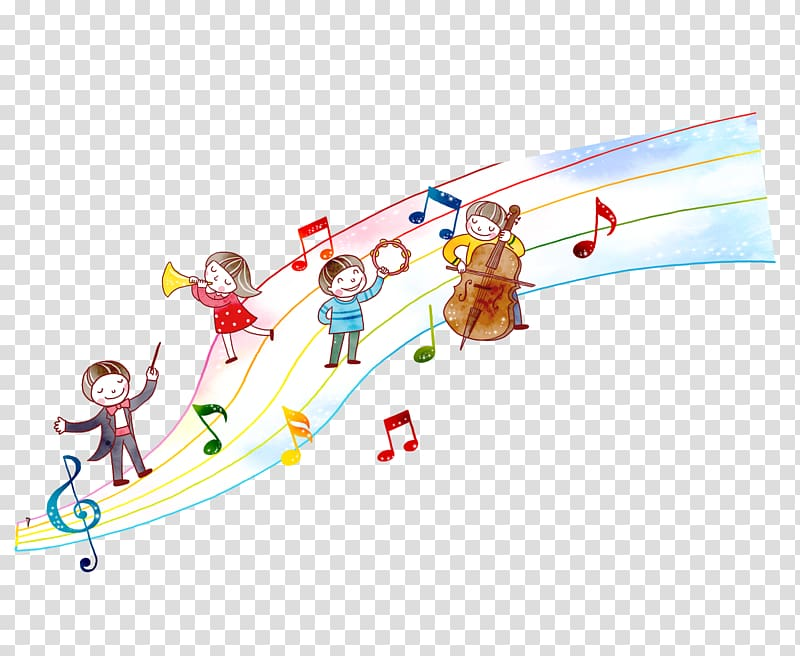 Four children playing instruments , Musical instrument.