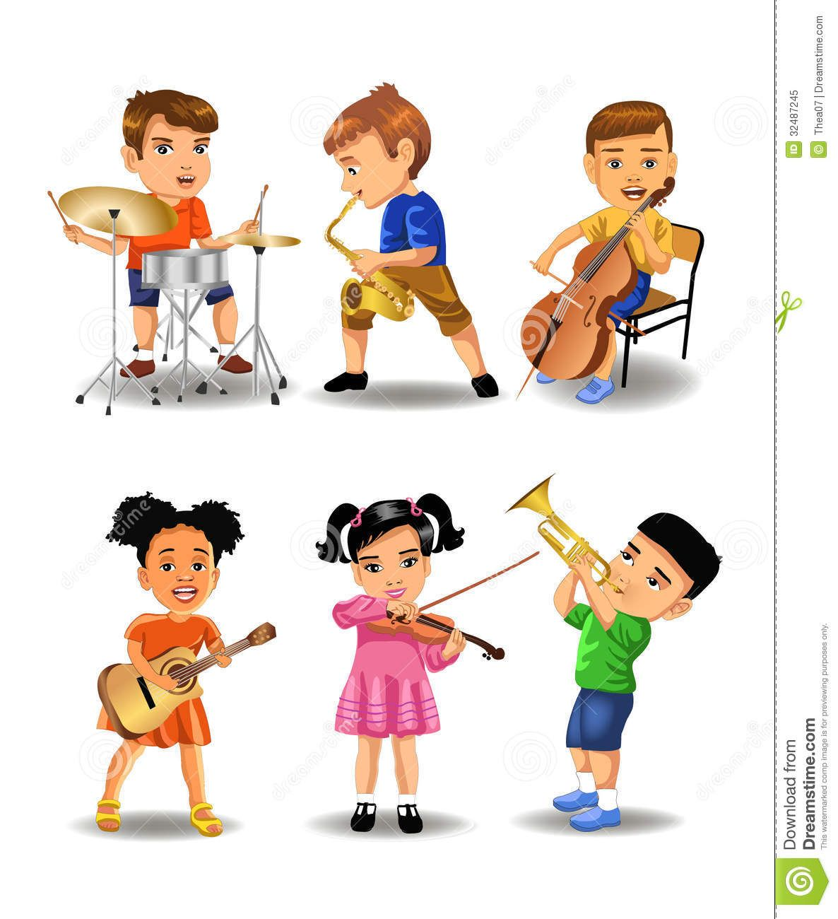 Children Playing Music Instruments Clipart.