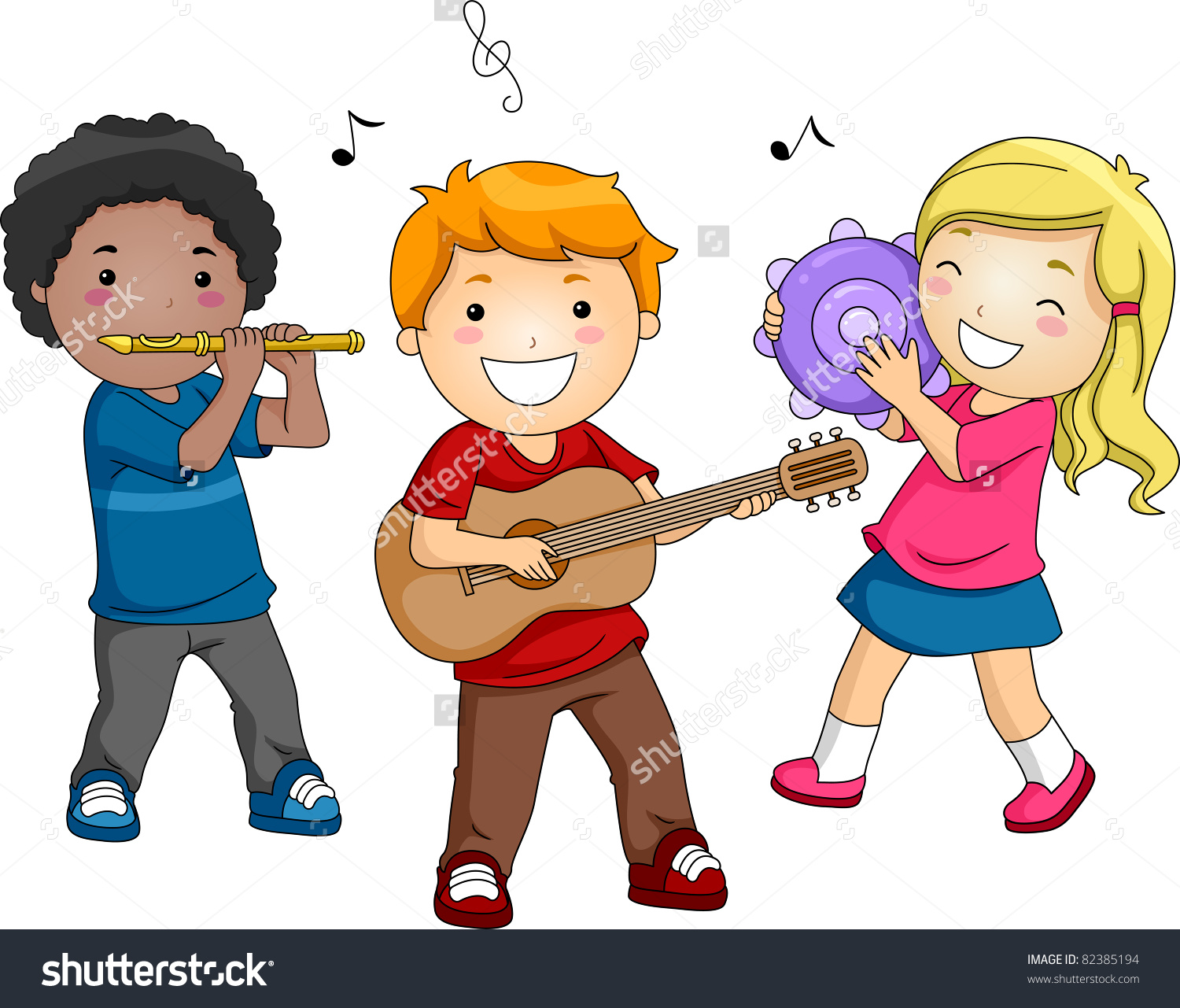 Illustration Kids Playing Different Musical Instruments Stock.