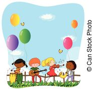 children playing musical instruments clipart #10