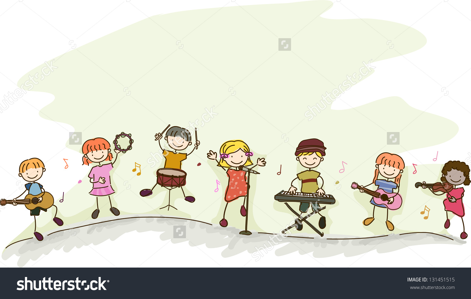 Illustration Multiracial Kids Playing Different Musical Stock.