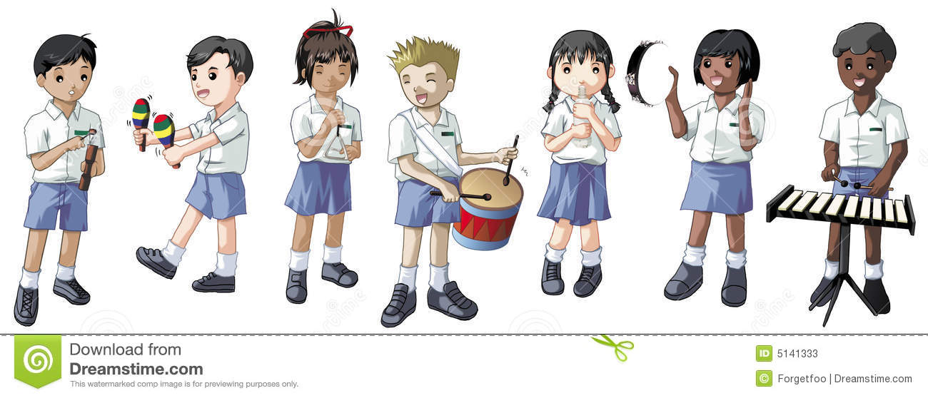 Students Playing Musical Instruments Stock Photos.