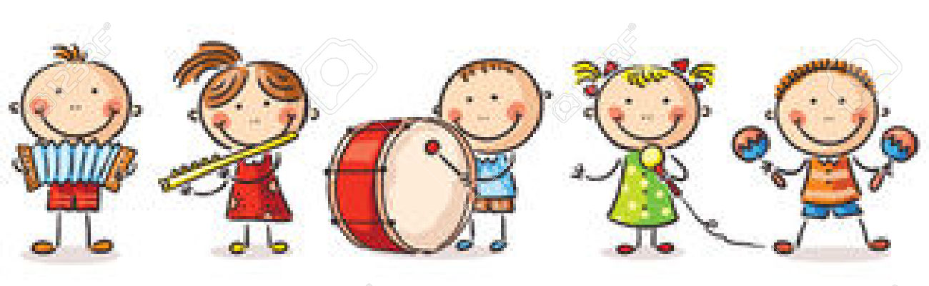 Happy Children Playing Different Musical Instruments Royalty Free.
