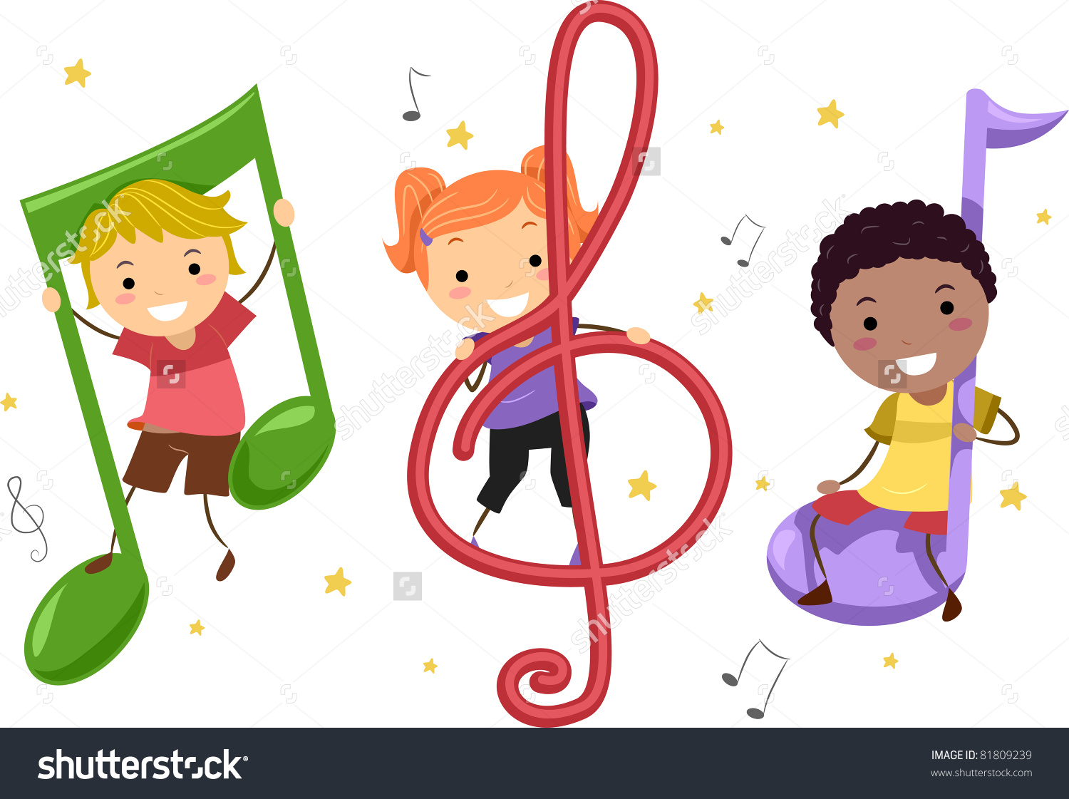 Illustration Kids Playing Musical Notes Stock Vector 81809239.