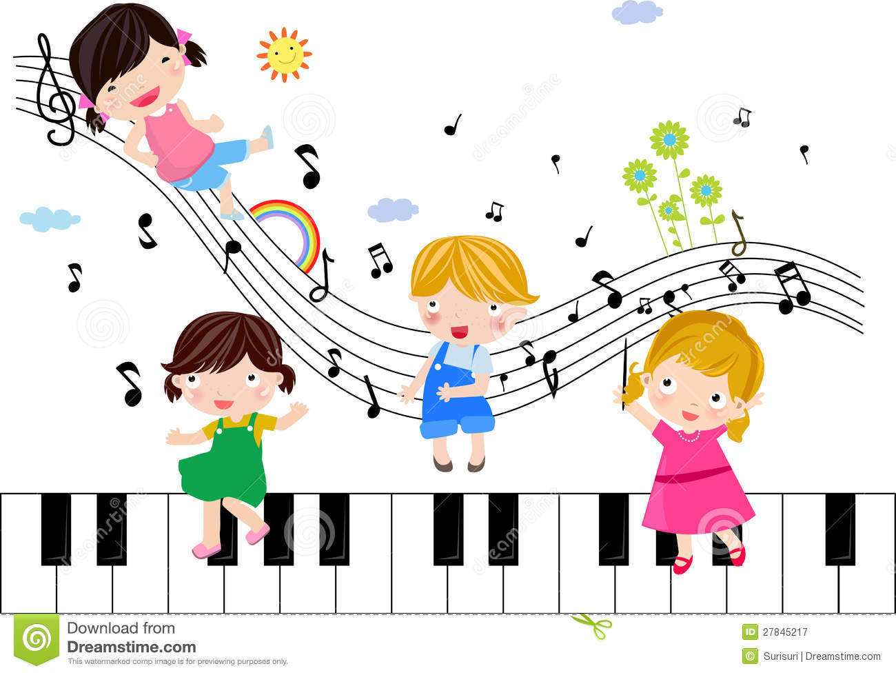 Kids Playing With Musical Notes Royalty Free Stock Photography.