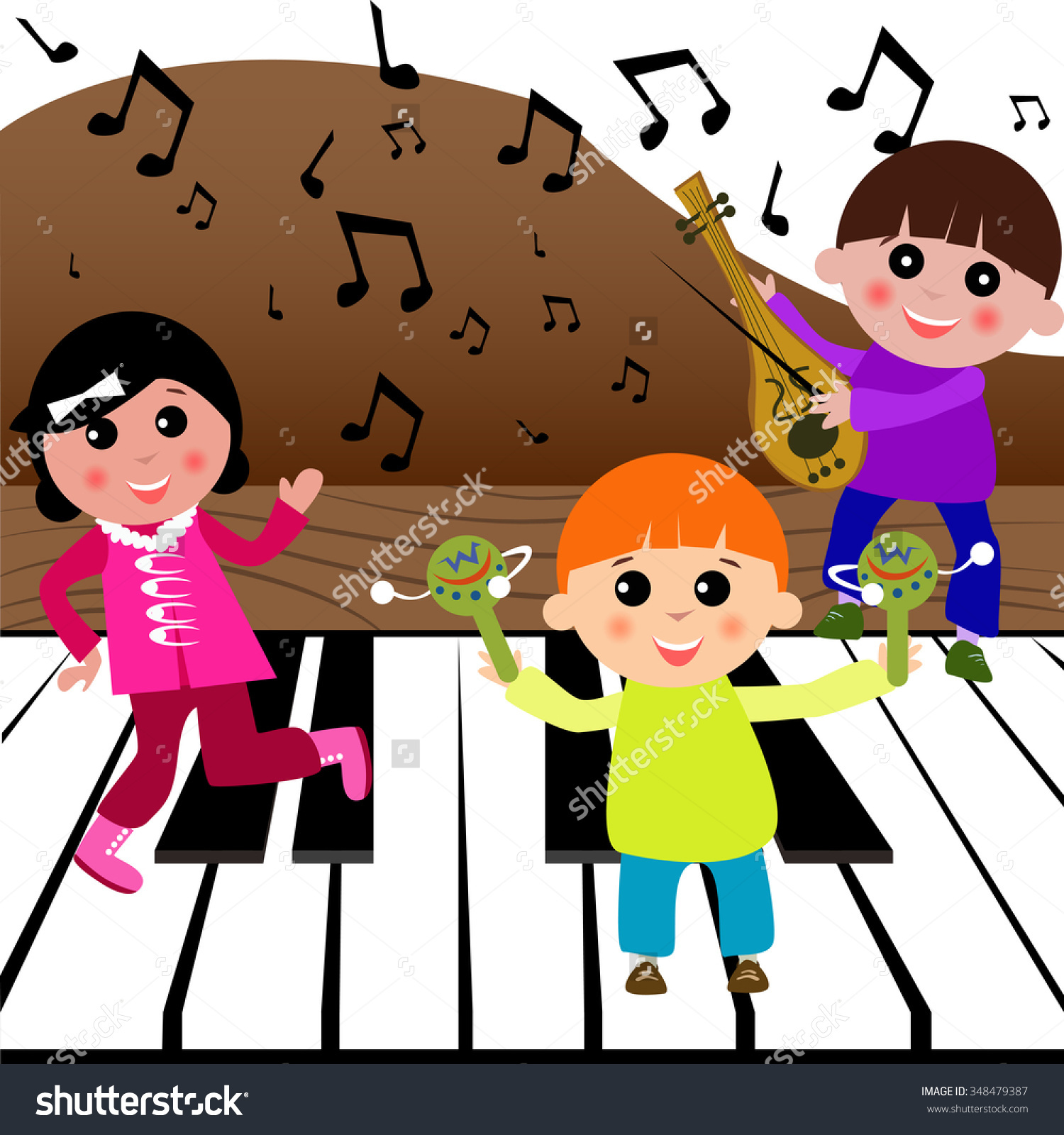 Children Playing Musical Instruments On Big Stock Vector 348479387.